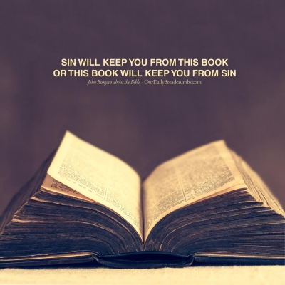 Sin will keep you from this Book, or this Book will keep you from sin John Bunyan