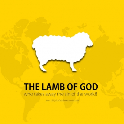 "The next day John saw Jesus coming toward him and said, ""Look, the Lamb of God, who takes away the sin of the world! John 1-29 Bible Verses"